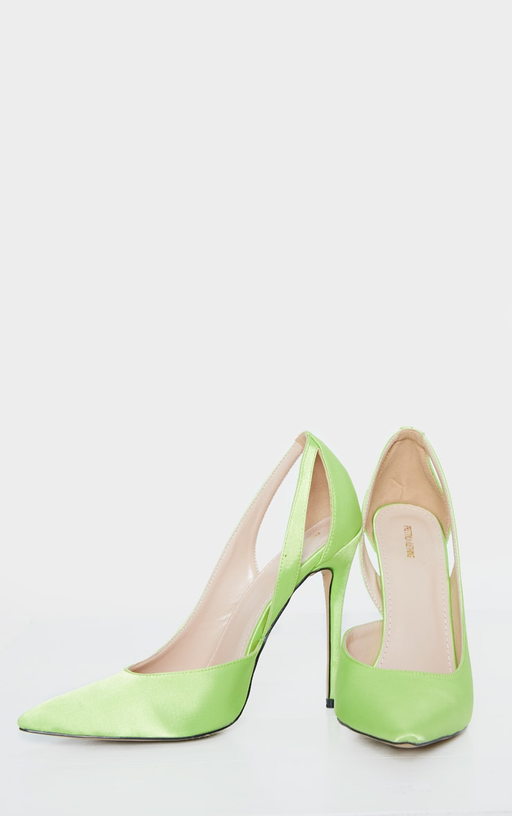 Lime Satin Cut Out Heel Court Shoe 3
