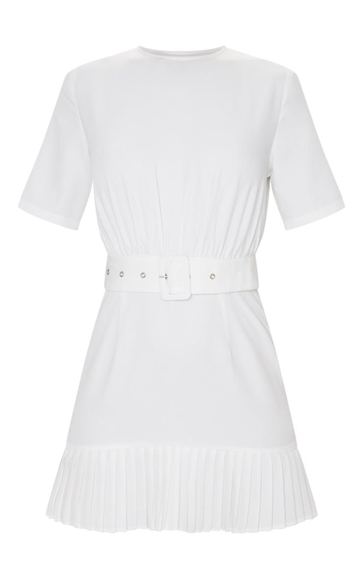 White Ruched Bust Belt Detail Pleated Hem Shift Dress 5