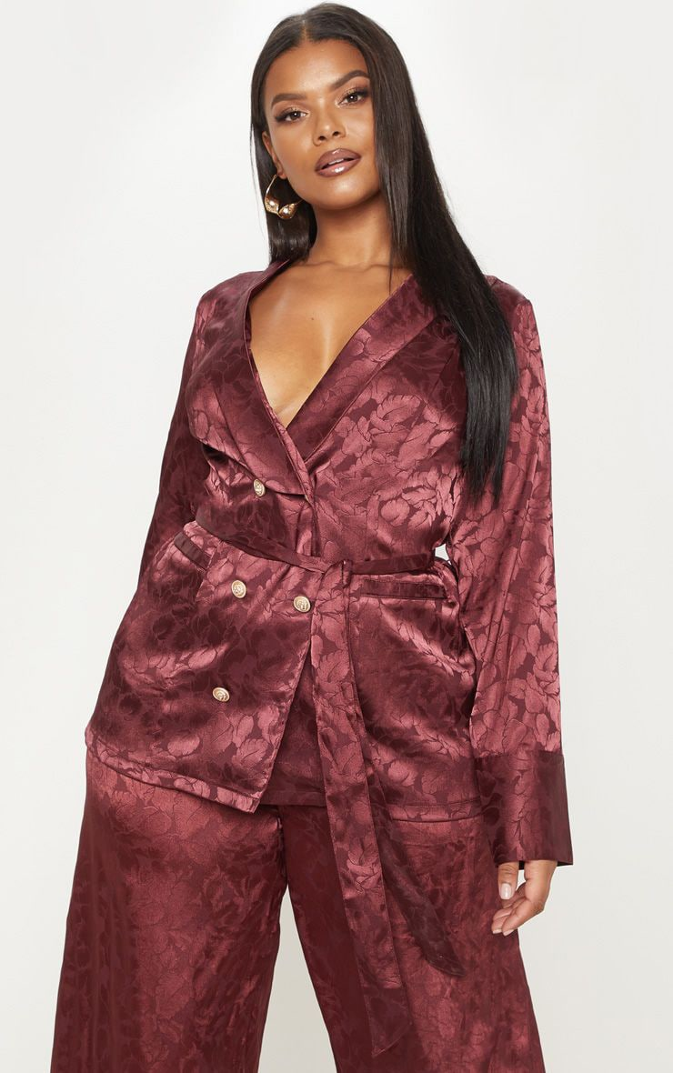 Plus Burgundy Satin Jacquard Long Line Blazer 1