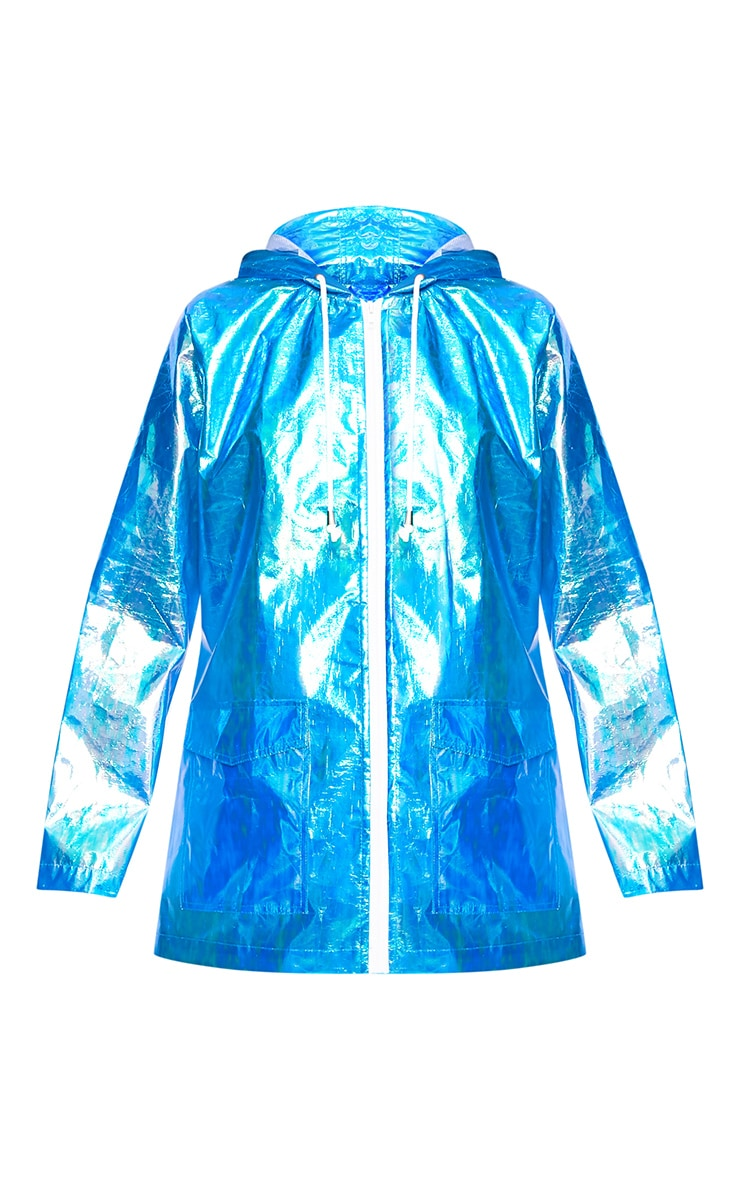 Cobie Blue Holographic Rain Mac 3