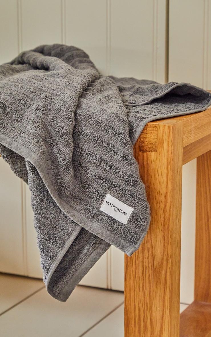 Charcoal Textured Ribbed Cotton Medium Bath Towel  3