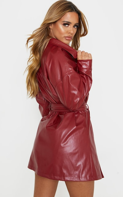 Petite Burgundy Belted PU Jacket Dress