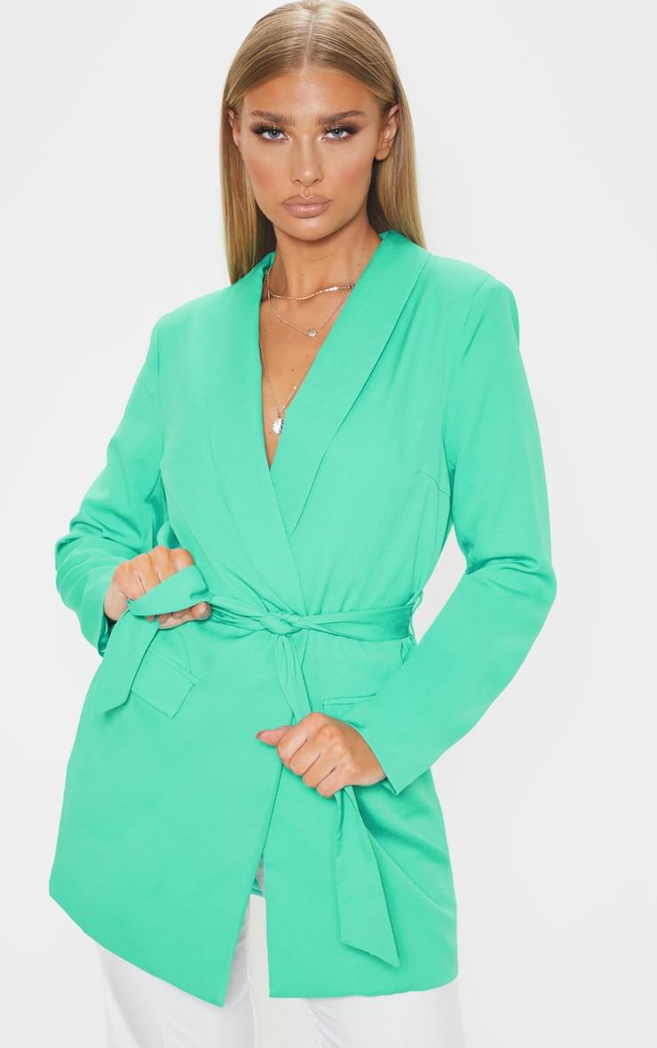 Green Belted Longline Woven Blazer    1