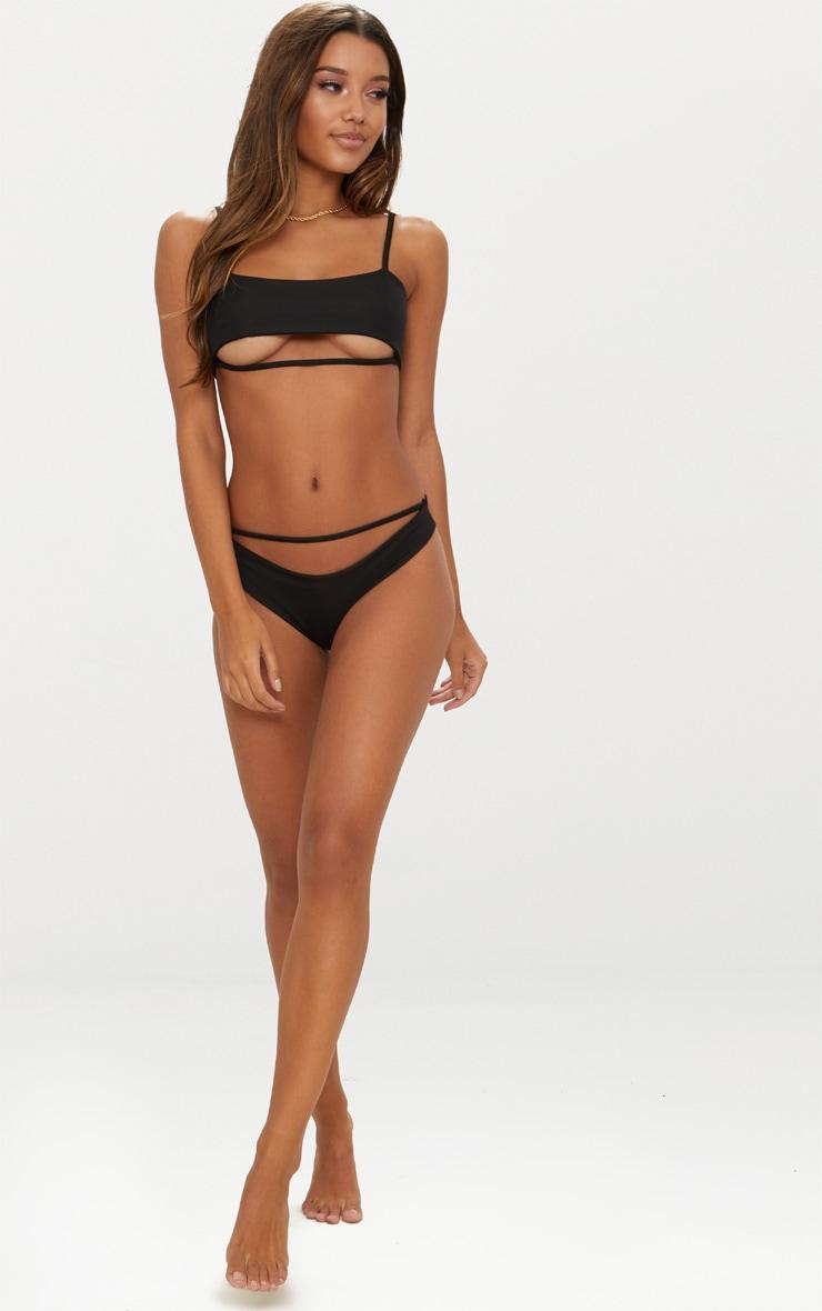 Black Under Bust Strap Detail Bikini Top 3