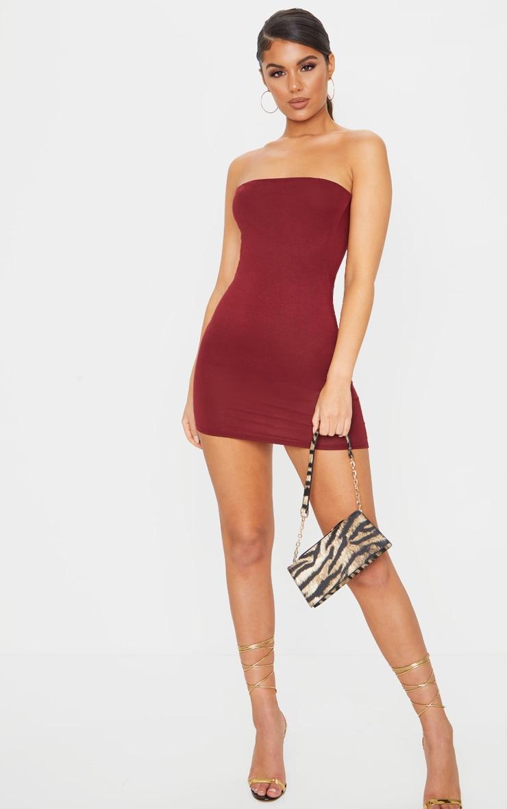 Burgundy Bandeau Bodycon Dress 3