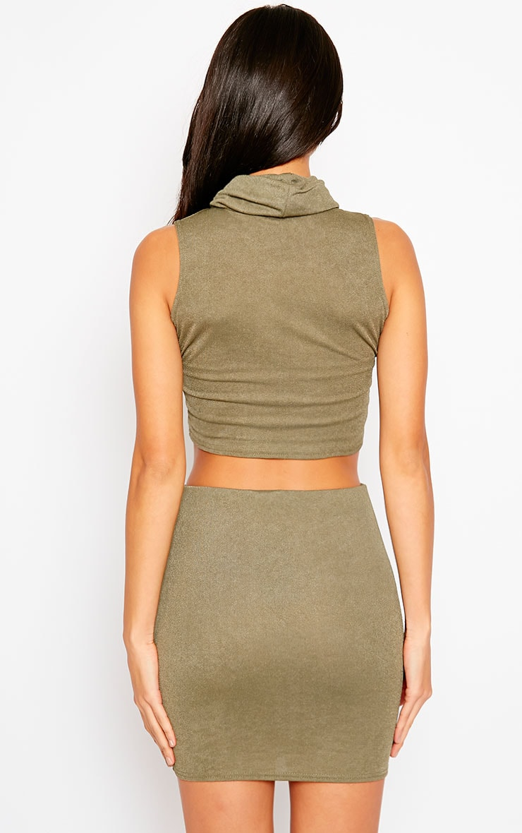 Joni Khaki Sleeveless Roll Neck Top 2
