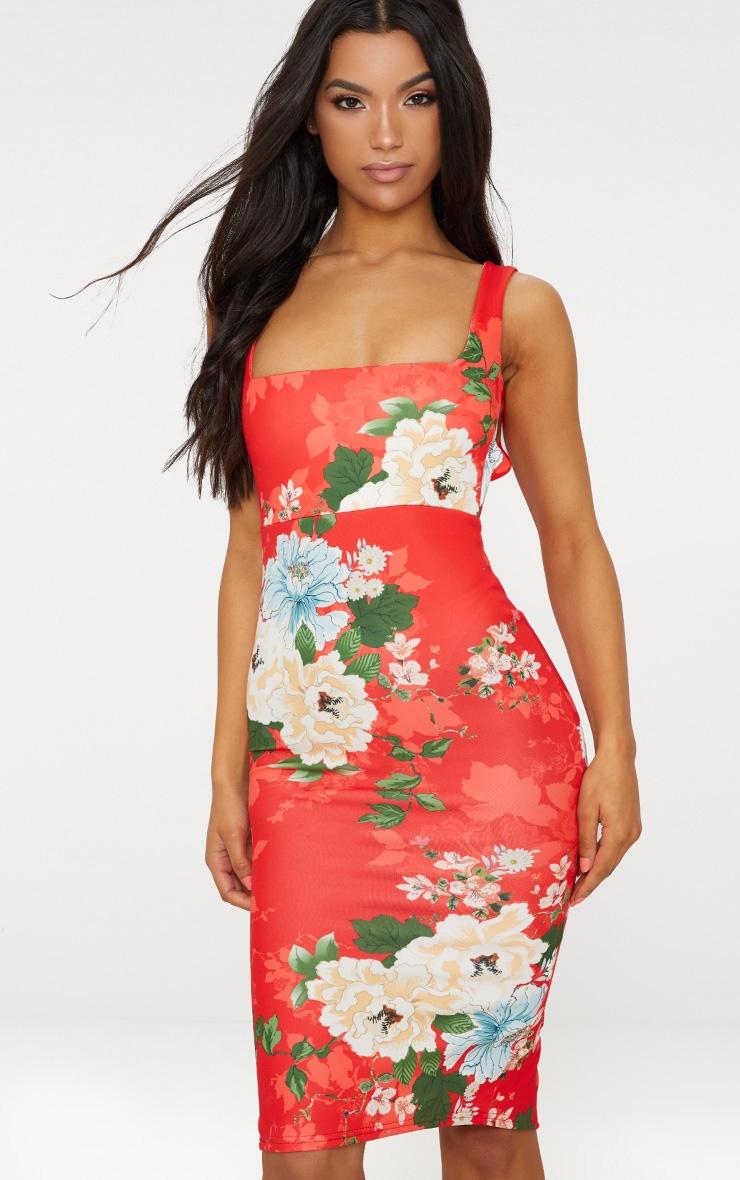 Red Floral Square Neck Tie Back Midi Dress 2