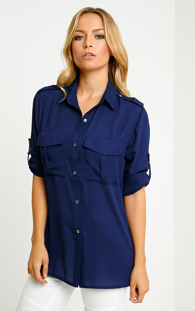 Bethan Navy Utility Pocket Shirt 5