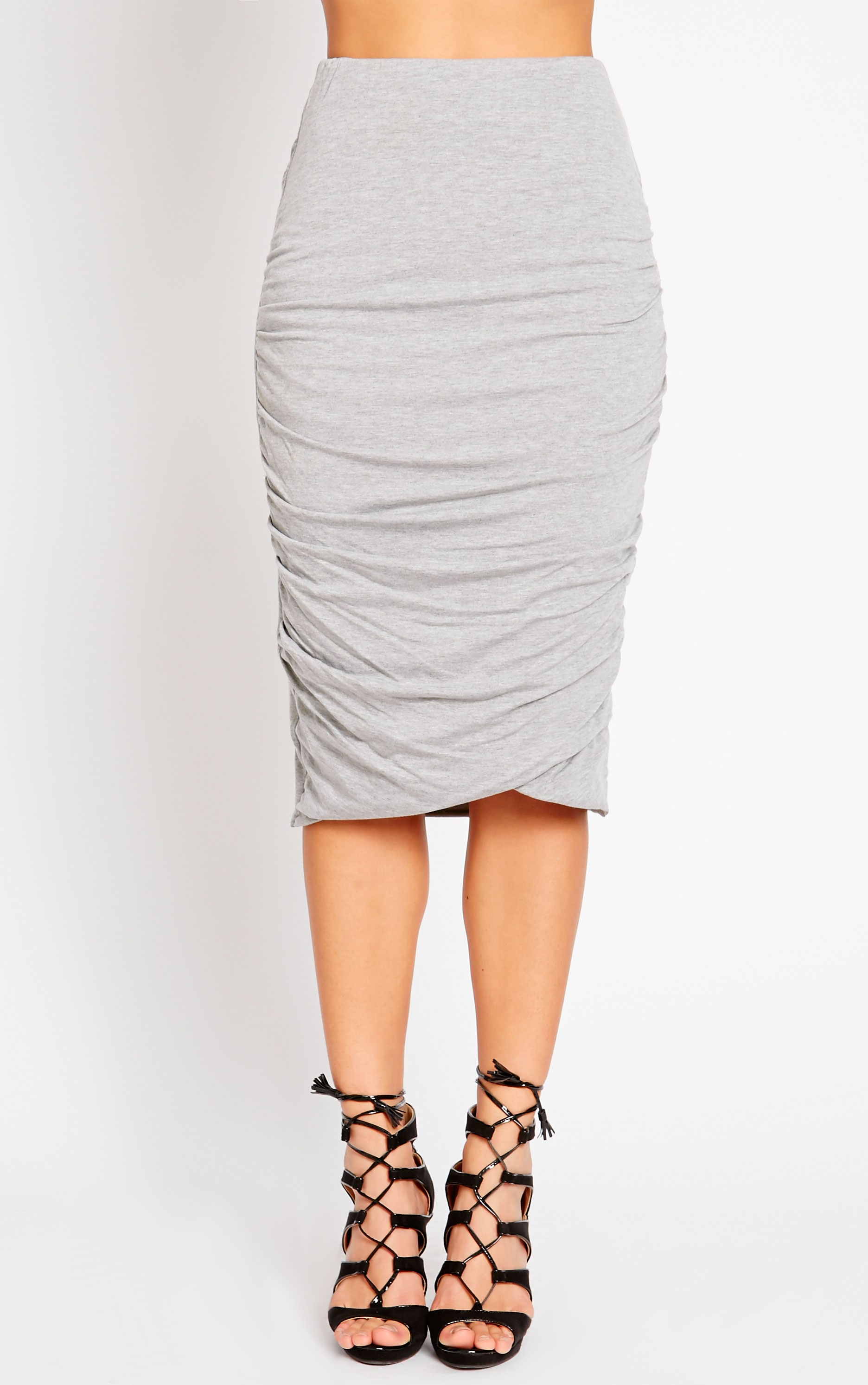 Asia Grey Jersey Ruched Midi Skirt 2