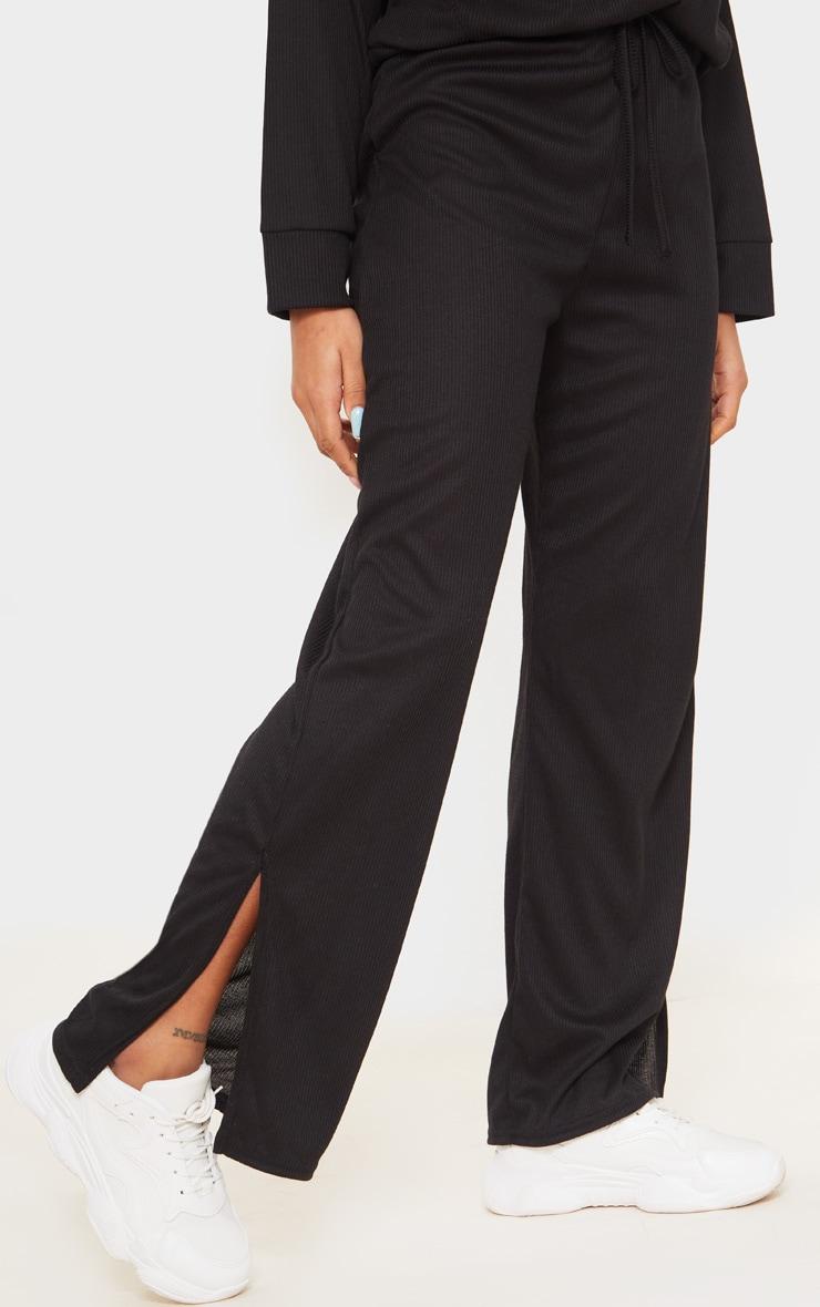 Petite Black Ribbed Split Hem Flared Pants 2
