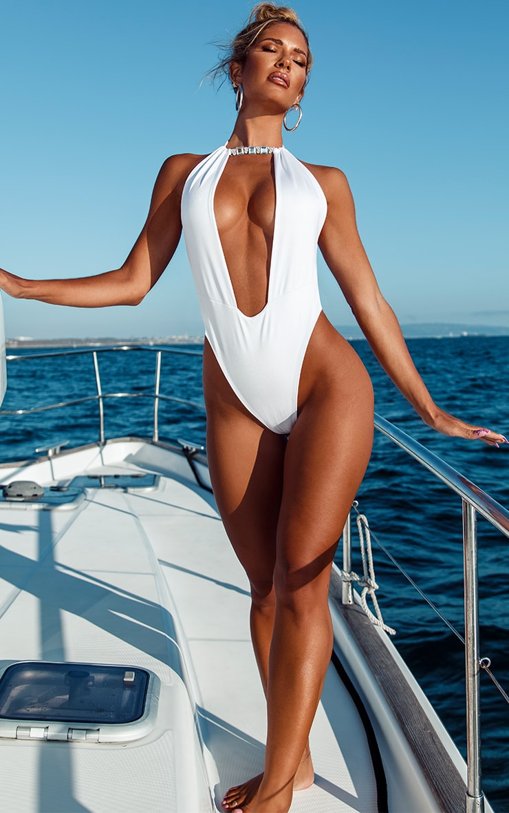 White Diamante Backless Swimsuit