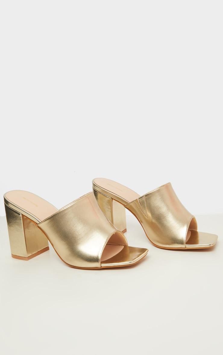 Gold Wide Fit Chunky Block Heel Mule Sandal 4