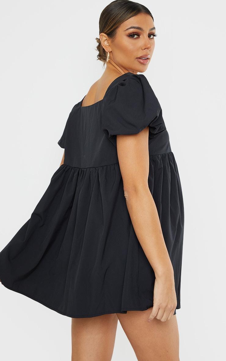 Maternity Black Short Puff Sleeve Mini Dress 2