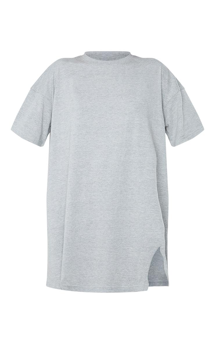Grey Double Raw Edge Split Hem T Shirt Dress 5