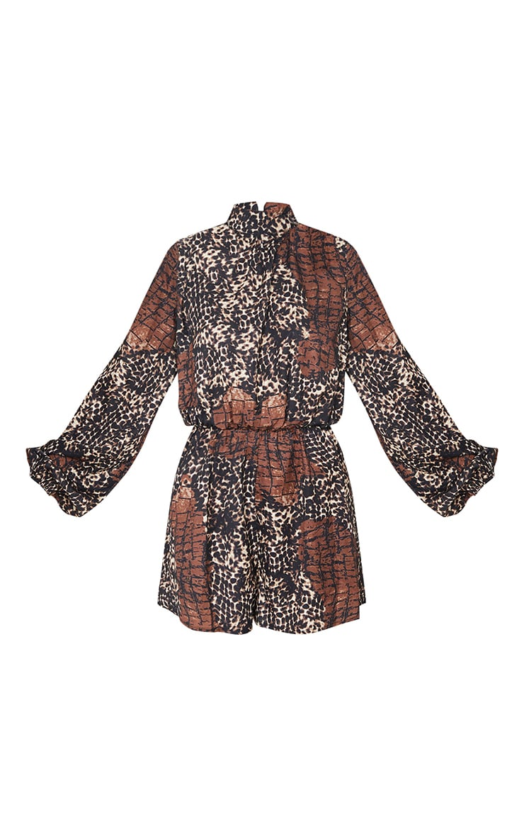 Brown Animal Print High Neck Balloon Sleeve Playsuit 5