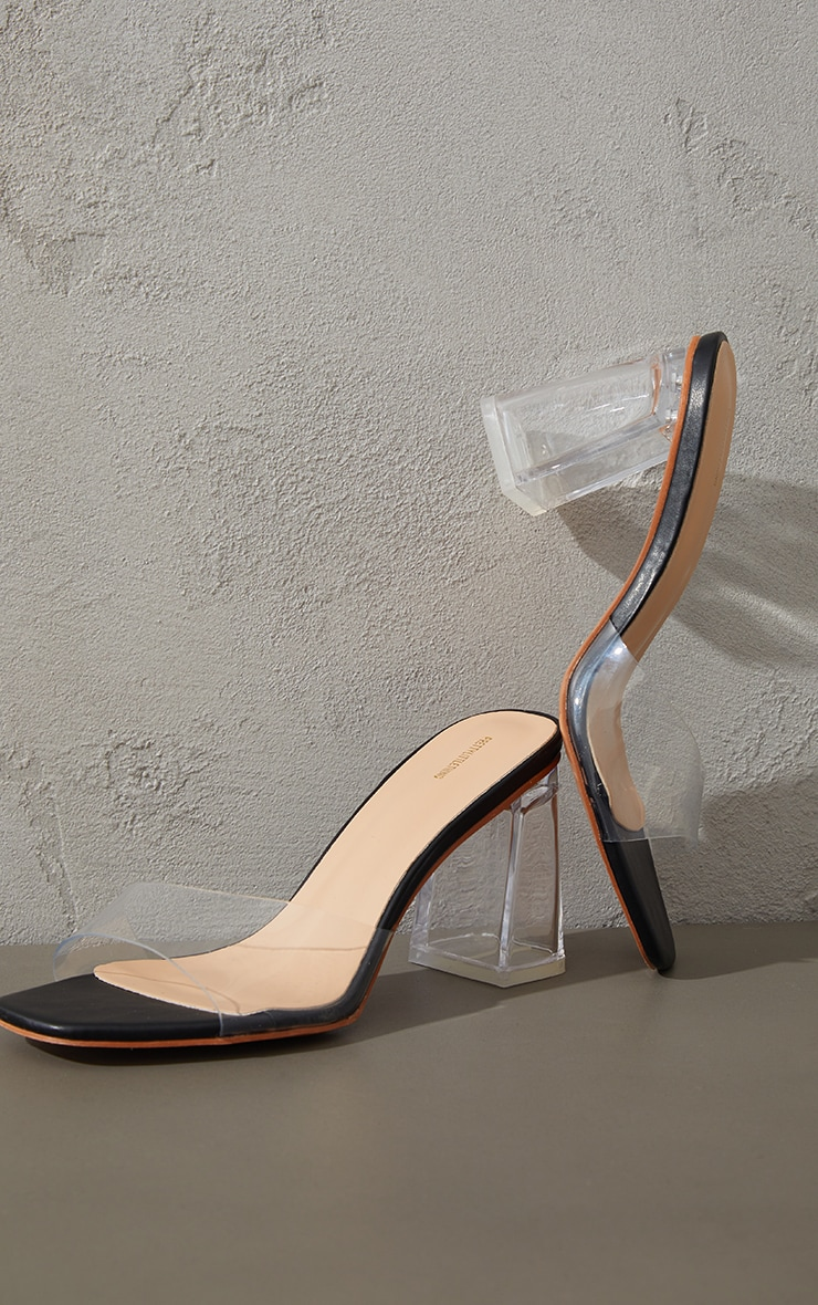 Black Clear Strap High Clear Block Heel Mules 3
