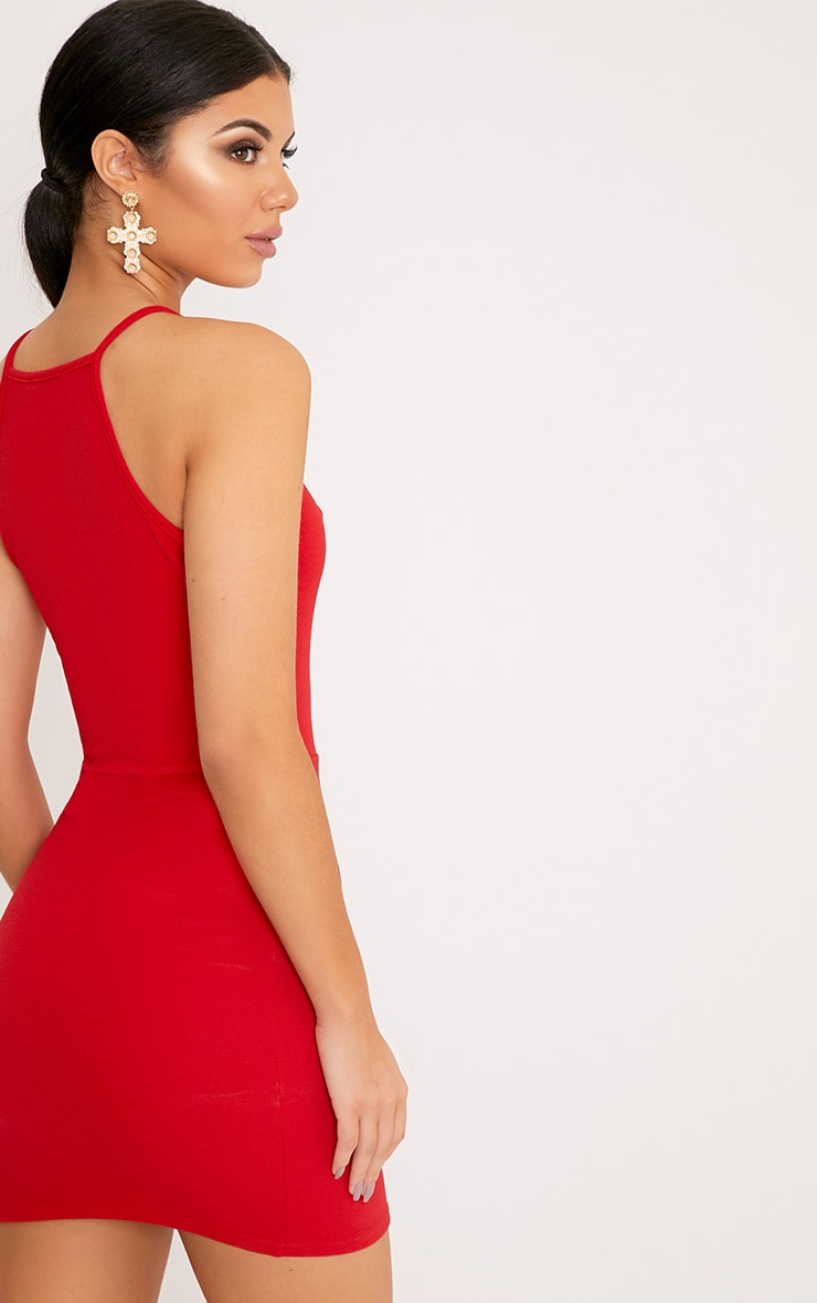 Aniqah Red High Neck Split Detail Bodycon Dress 2