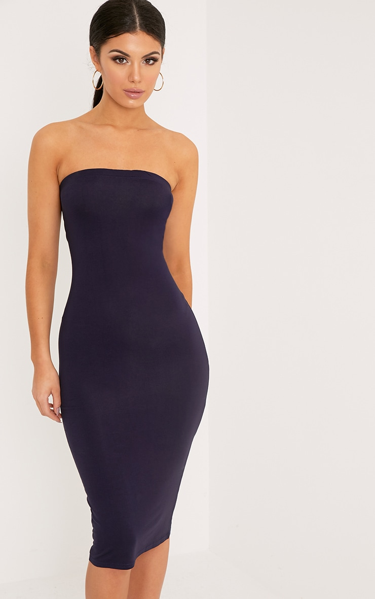 Basic Navy Jersey Bandeau Midi Dress 1