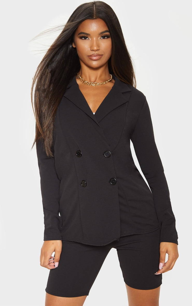 Black Double Breasted Button Suit Jacket 1