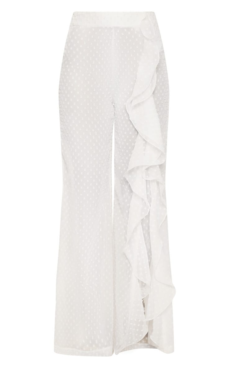 White Dobby Mesh Frill Detail Wide Leg Pants 3