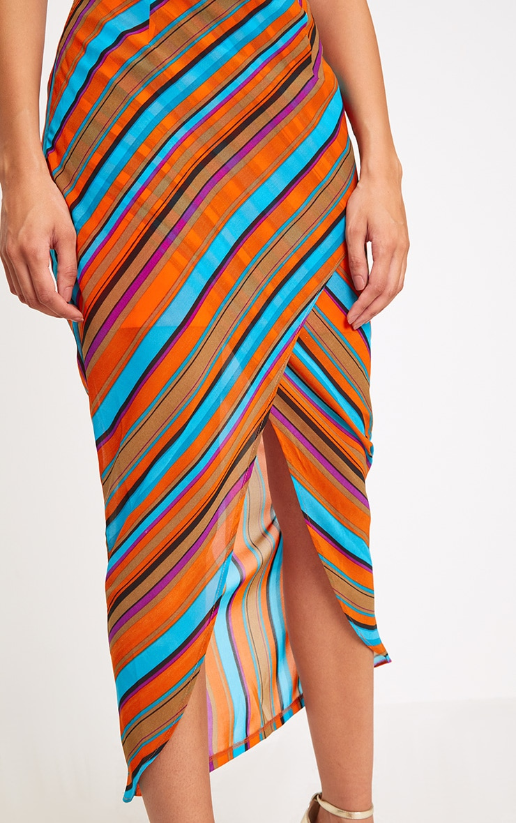 Orange Stripe Wrap Midaxi Skirt 5