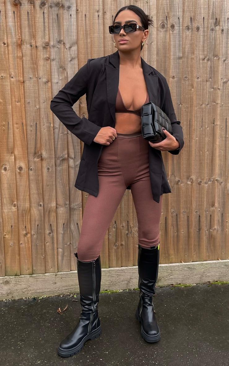 Black Woven Long Sleeve Blazer 1