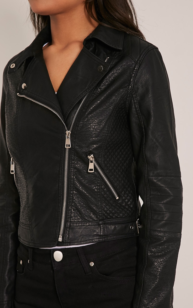 Annie Black PU Textured Biker Jacket 6