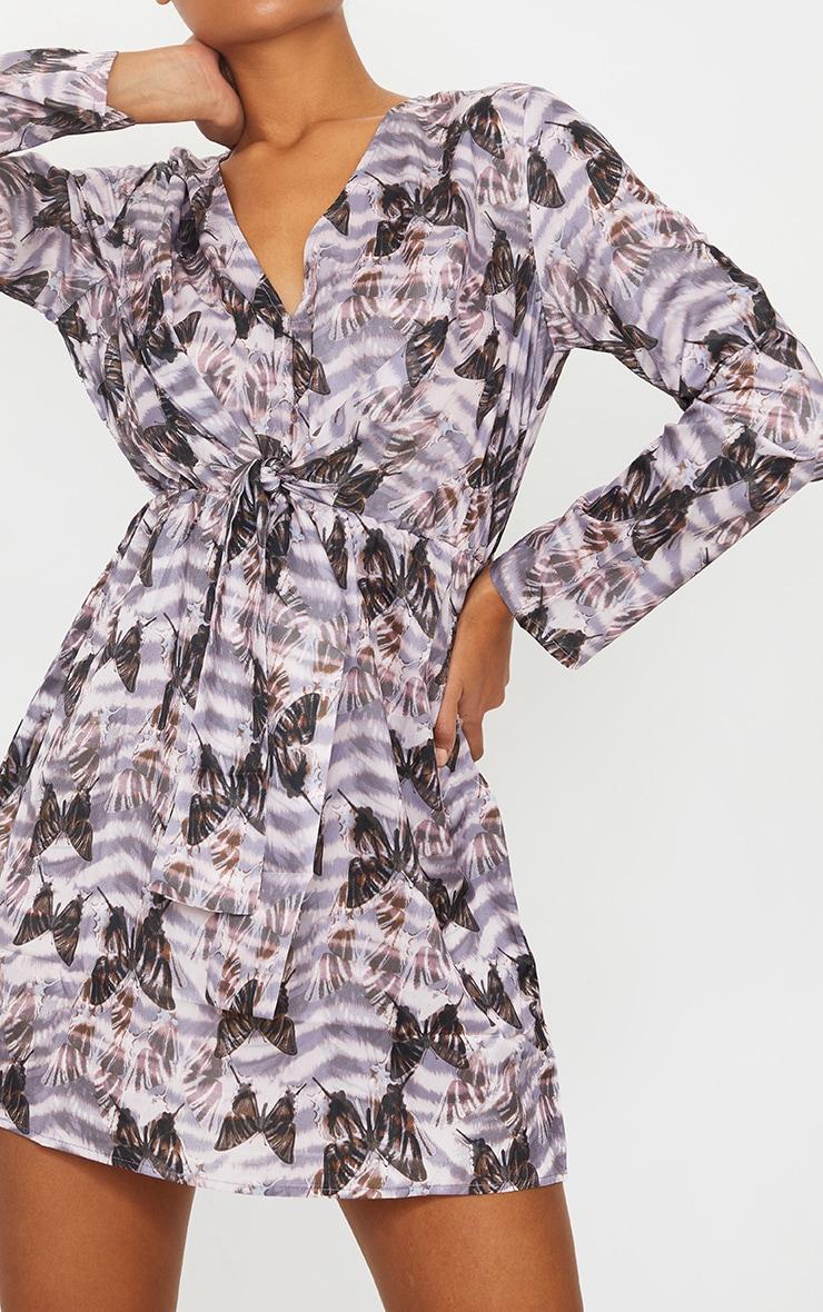 Multi Butterfly Print Wrap Knot Tea Dress 4