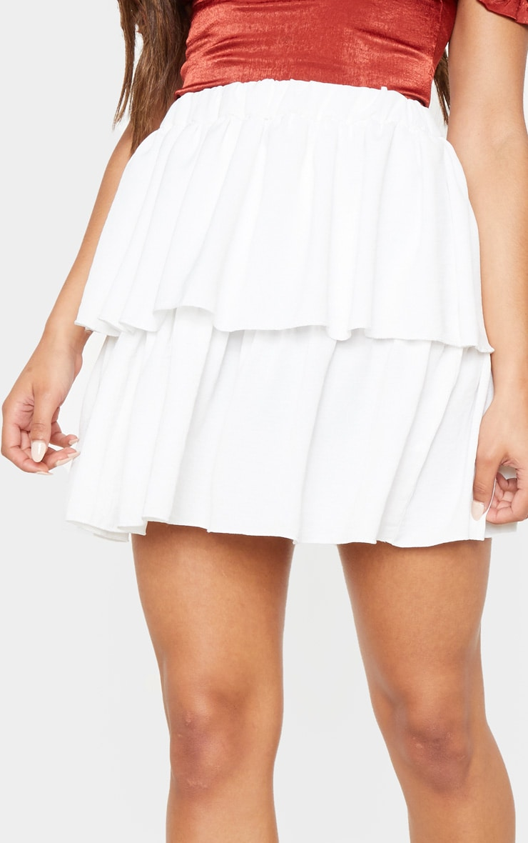 White Woven Frill Tiered Mini Skirt  6