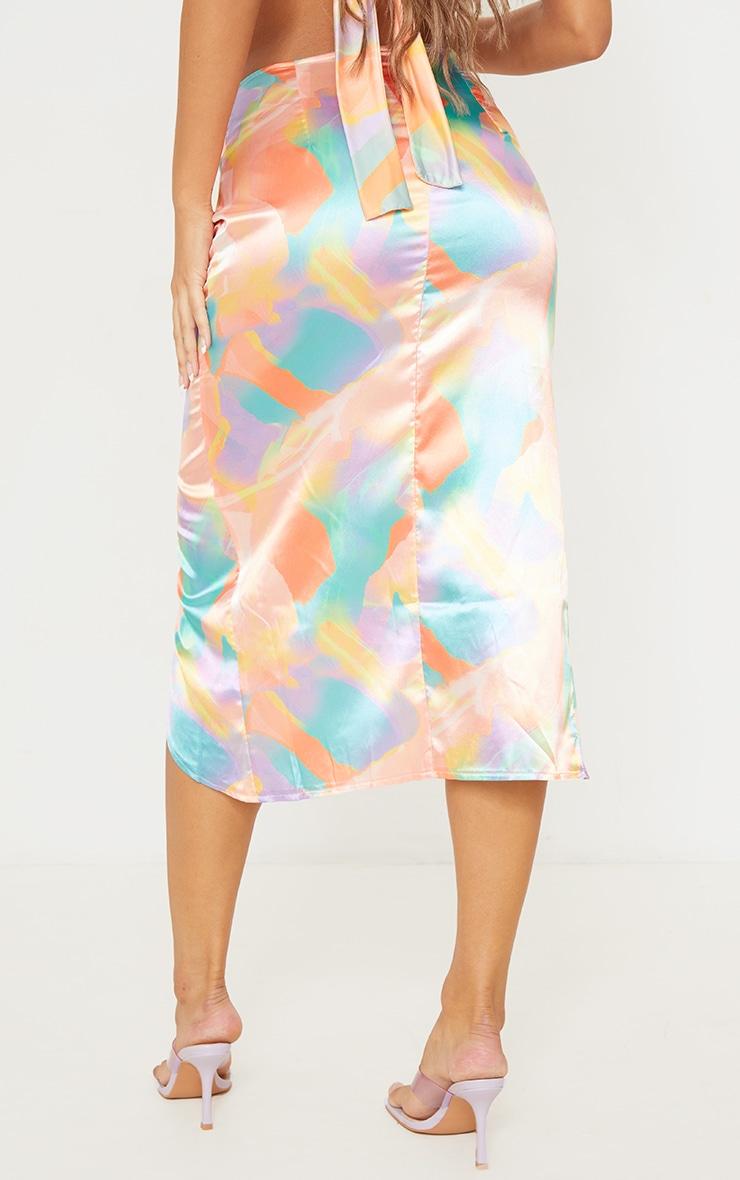 Multi Pastel Print Satin Shimmer Twist Front Midi Skirt 3