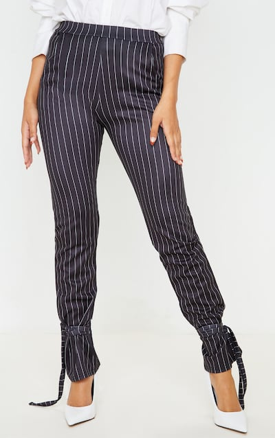 Black Pinstripe Ankle Tie Trouser
