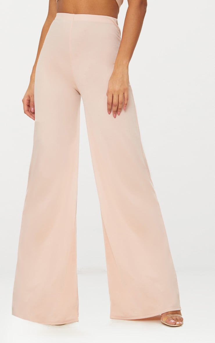 Nude High Waisted Wide Leg Trousers 2