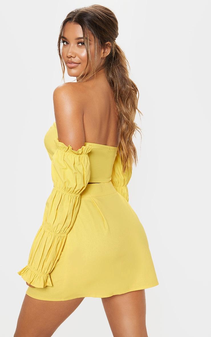 Yellow Cotton Button Detail Puff Sleeve Shirt 2