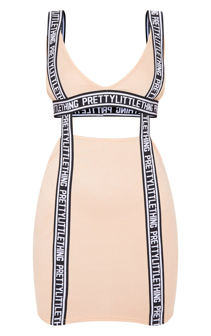 PRETTYLITTLETHING Fawn Tape Detail Cut Out Bodycon Dress 3