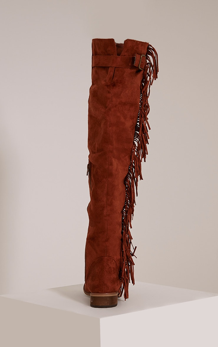 Larie Tan Over The Knee Fringed Boots 4