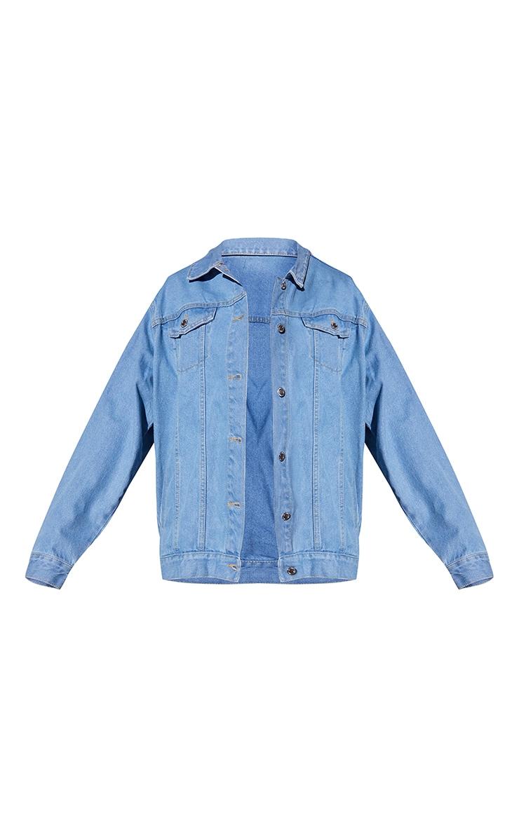 Recycled Light Blue Wash Basic Oversized Boyfriend Denim Jacket 5