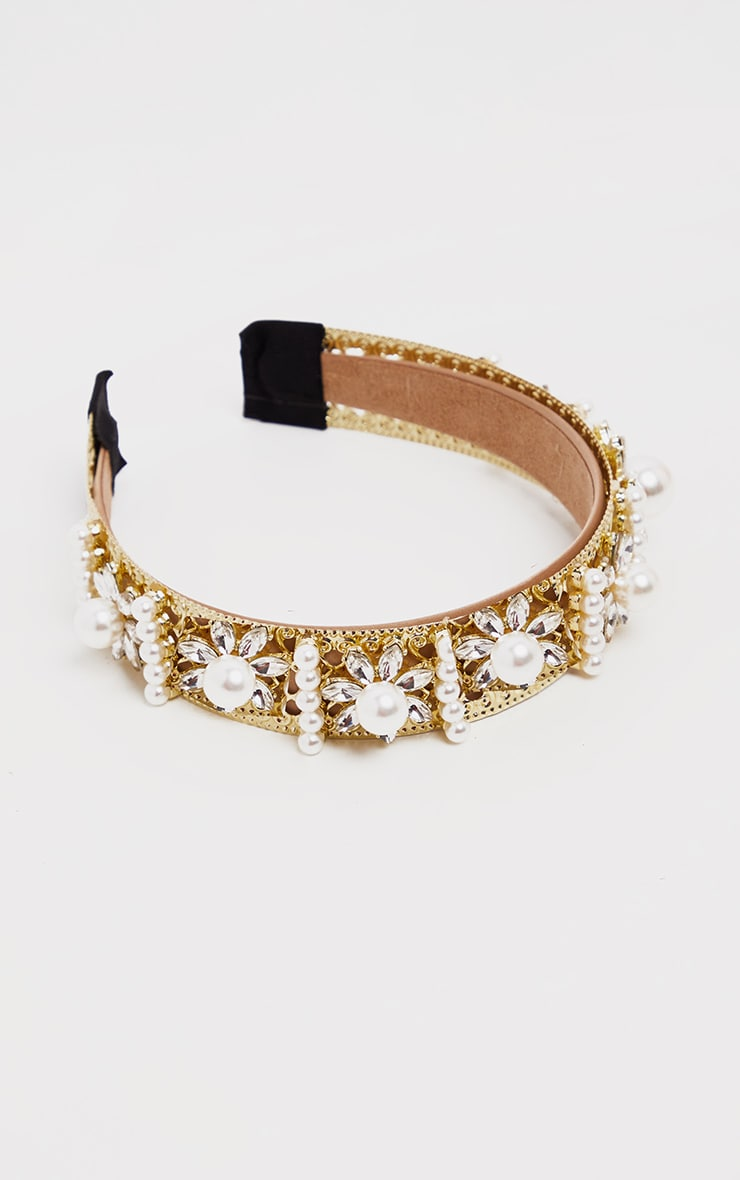 Gold Pearl And Diamante Embellished Alice Headband 2