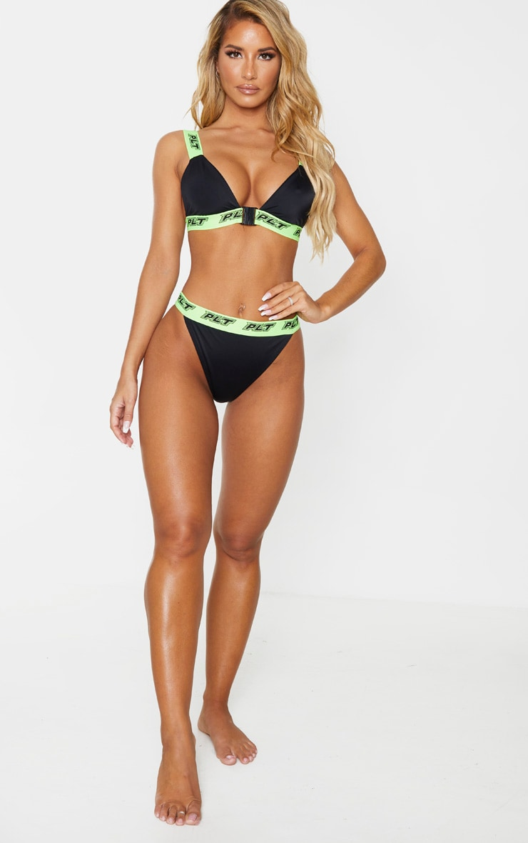 PRETTYLITTLETHING Black Racer Tape Front Close Bikini Top 3