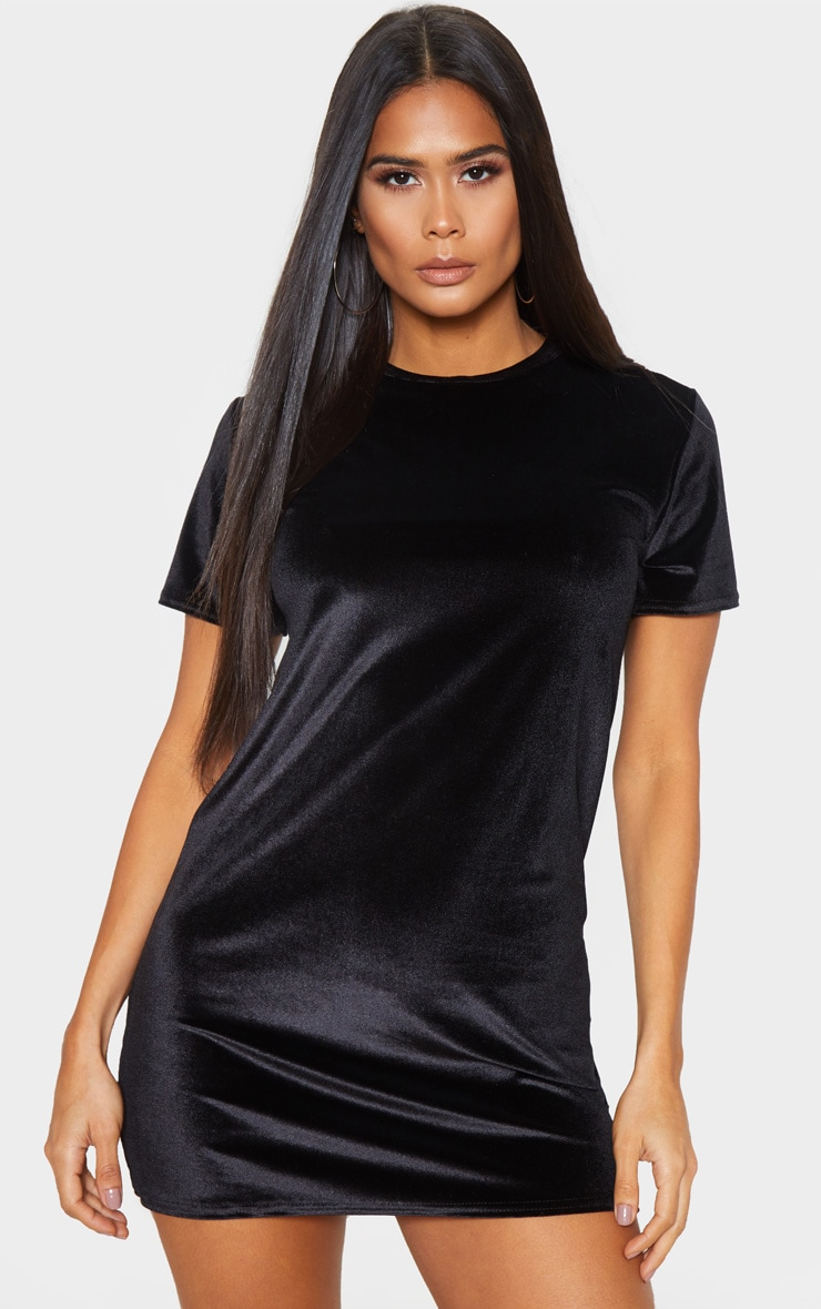 Black Velvet Oversized T Shirt Dress 1