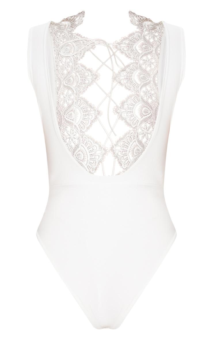 White Lace Up Lace Trim Swimsuit 4