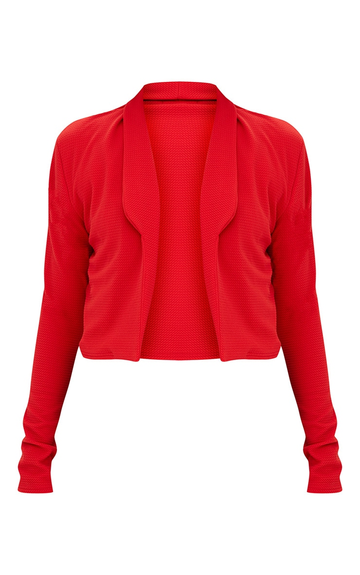 Red Cropped Textured Blazer 3