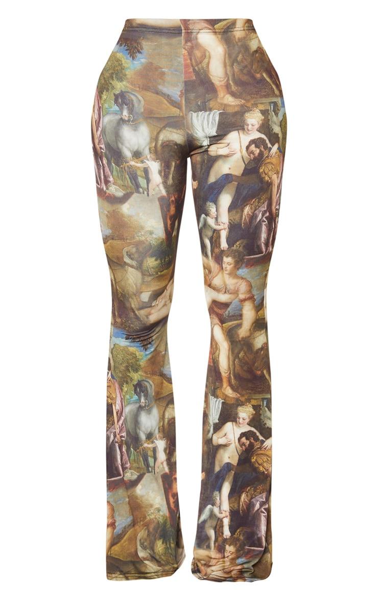 Shape Multi Oriental Print Slinky Flared Pants 3