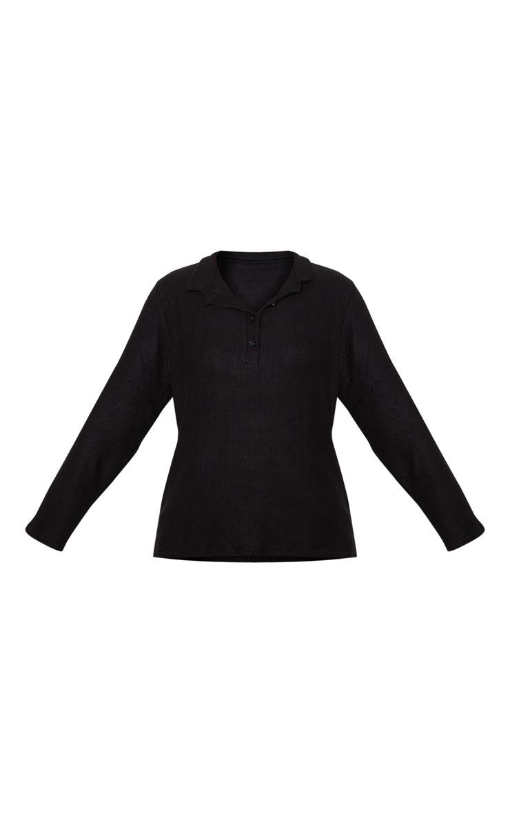 Petite Black Long Sleeve Brushed Rib Polo Top 3