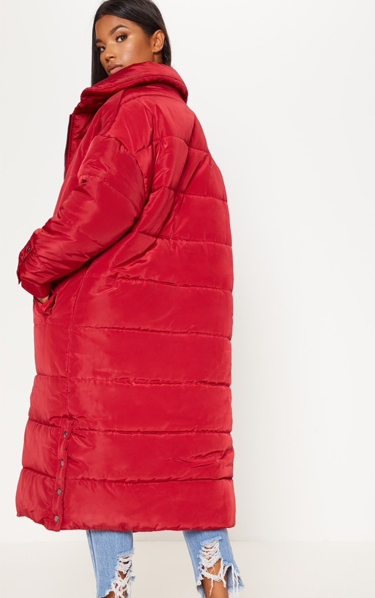 Burgundy Longline Puffer Jacket  2