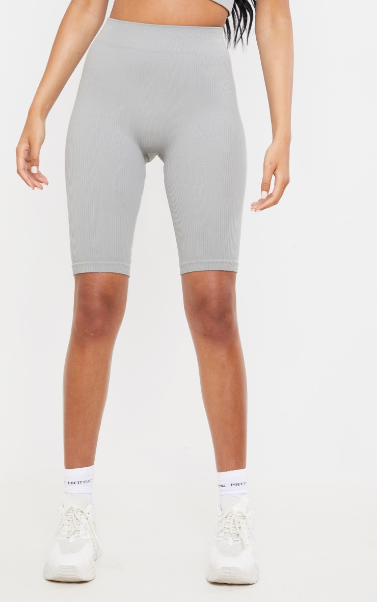Tall  Mineral  Blue Structured Contour Ribbed Bike Shorts 2