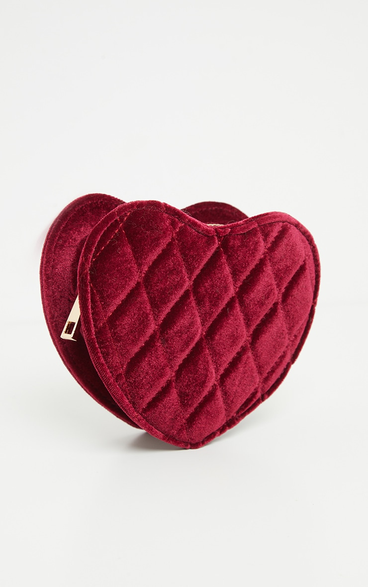 Burgundy Velvet Quilted Heart Chain Mini Bag 2