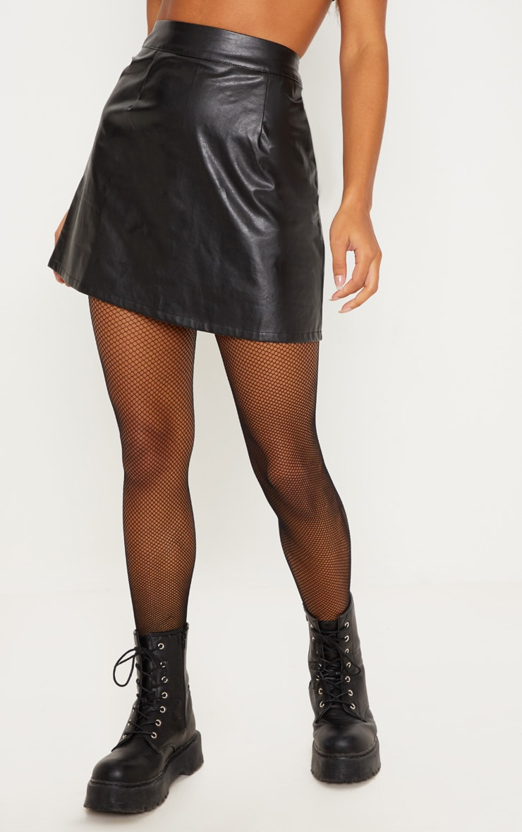 Black Faux Leather A-Line Mini Skirt 3