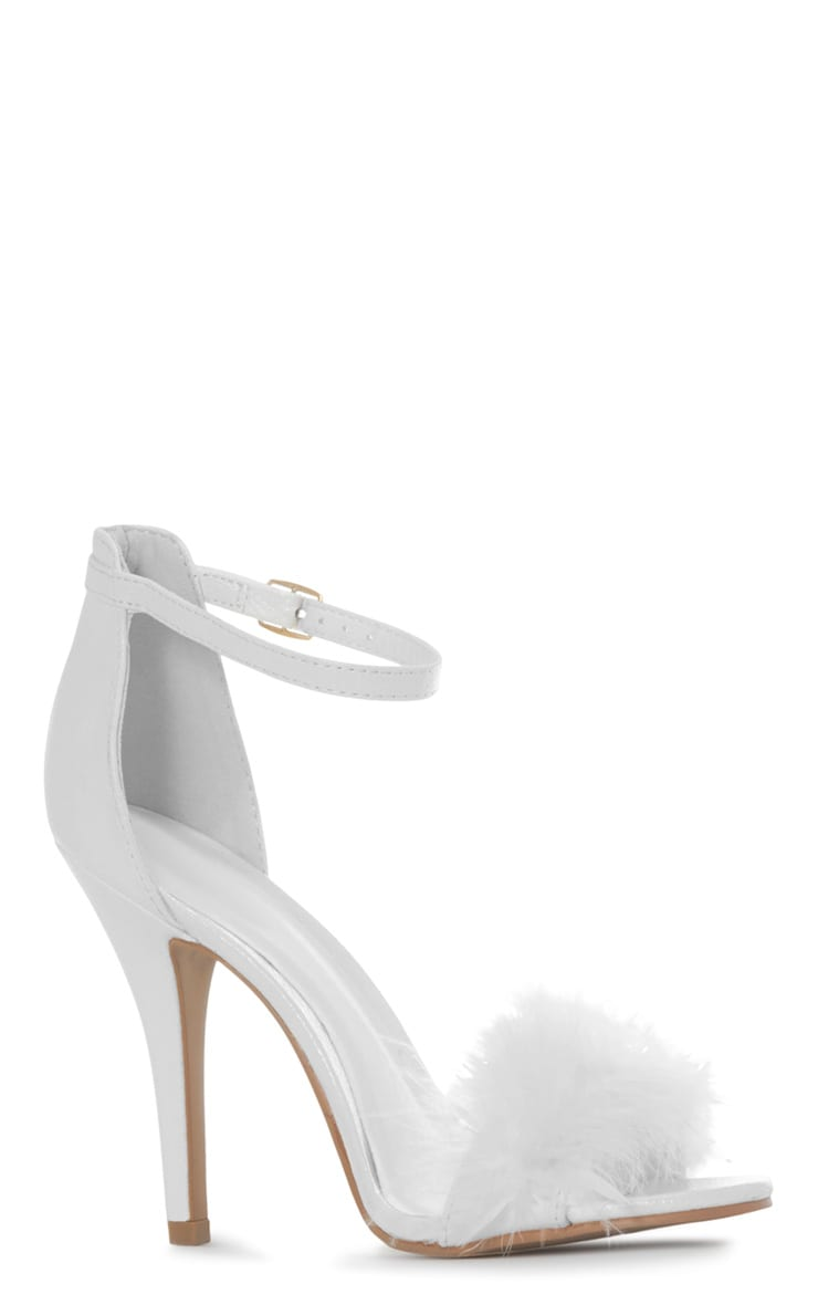Saskia White Leather Fluffy Strappy Heeled Sandals 3