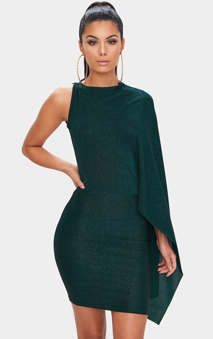 Green Glitter Cape Detail Bodycon Dress 1