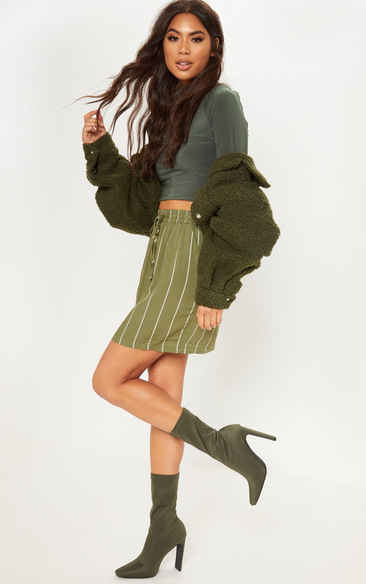 Khaki Casual Mini Skirt